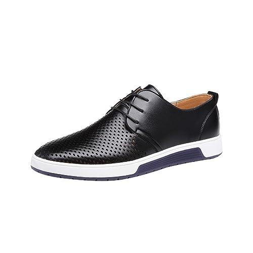 Zapatillas de Hombre de BaZhaHei, Moda Hombre Zapatos de cuero casuales Zapatos planos Zapatos de negocios zapatillas de boda Zapatos de vestir de los ...