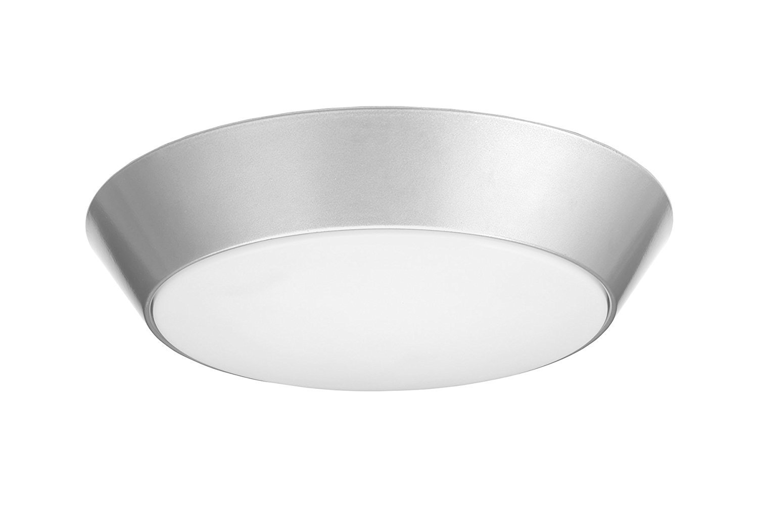 Lithonia Lighting 13 inch Round LED Flush Mount Thin Ceiling Light Mount, Nickel, 3000K, Dimmable