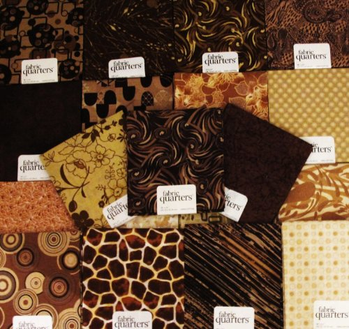 - FAT QUARTER ~ Set of 10 100 % COTTON ~ BROWN / TAN ~ Quilt Fabric ~ CRAFTS ~ SEWING