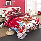 POTENCO Christmas Bedding Sets Collections Santa Claus Printed Bedspreads Coverlets Sets Comforters Decorations (Full, 200230)