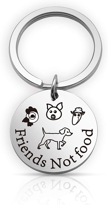 EIGSO Vegan Jewelry Friends Not Food Animal Lover Keychain Animal Rescue Keychain Animal Rights Theme Gift(Friends Food KR)