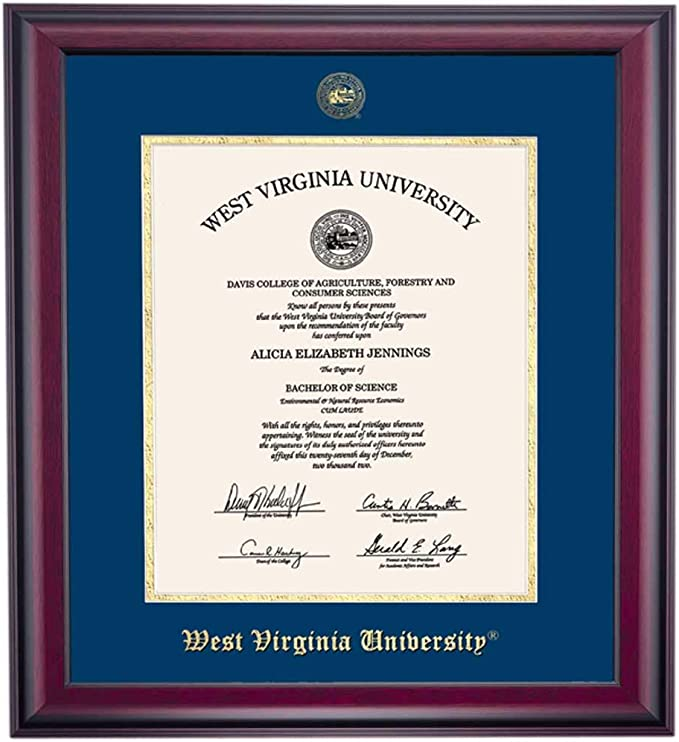 WVU Diploma Frame West Virginia University School Campus Photo Custom Degree Double Mat Framing Document Graduation Gift Bachelor Master MBA Doctorate PHD Certificate Holder Case