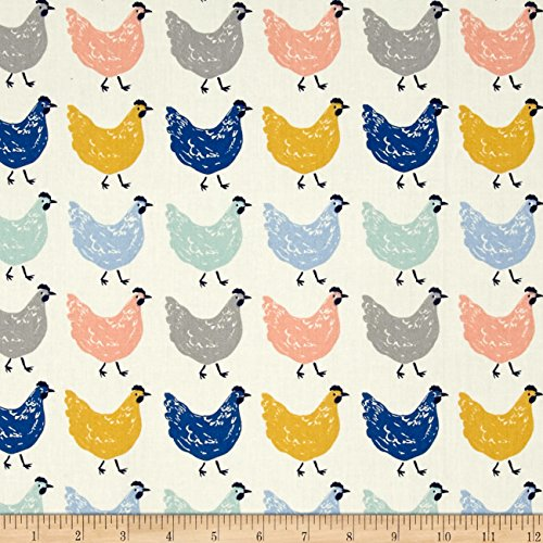Birch Organic Homestead Roost Cream Fabric By The Yard (Certified Fabric)