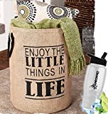 HomeCricket Gift Included- Inspirational Phrase Storage & Organization Bin with Words Enjoy Life + FREE Bonus Water Bottle by Home Cricket