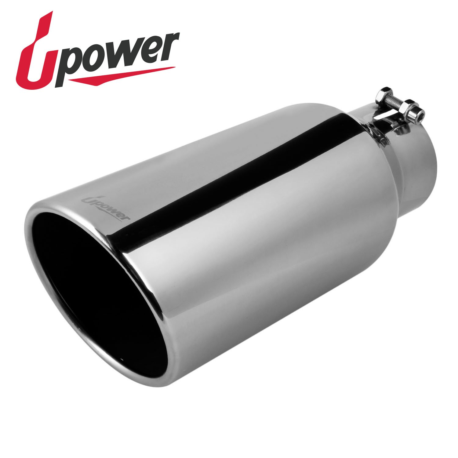 Upower Universal Diesel Trucks Car Exhaust Tip 4 Inch Inlet 6'' Outlet 15'' Long Stainless Steel Bolt-On