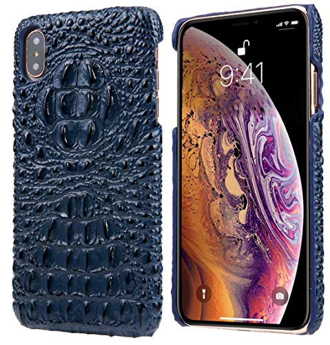iPhone Xs Leather Case, iPhone X Leather Case, Reginn Wireless Charging Compatible Phone Bumper, Slim Fit Genuine Leather Case for iPhone X and iPhone Xs (Crocodile Head Pattern Blue)