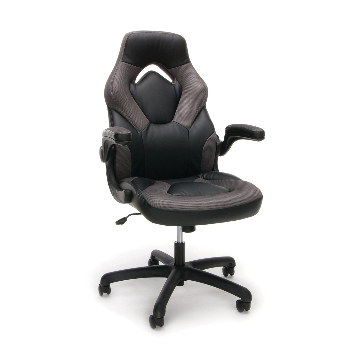 Essentials Racing Style Leather Gaming Chair - Ergonomic Swivel Computer, Office or Gaming Chair, Gray (ESS-3085-GRY) by OFM