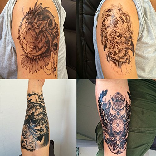 DaLin 4 Sheets Temporary Tattoos, Lion, Hawks, Owl, -