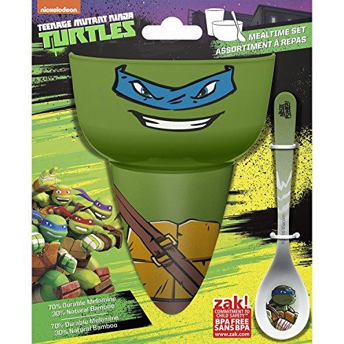 Zak Designs Teenage Mutant Ninja Turtles Kids Cereal Bowl, Tumbler and Spoon Set, Ninja Turtles]()