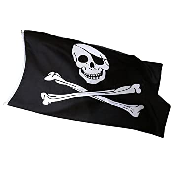 5ft X 3ft Pirate Skull flag with Bandana Skull and Crossbones for Climbing fram