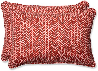 Pillow Perfect Outdoor Indoor Herringbone Tomato Oversized Lumbar Pillows, 24.5 x 16.5 , Red, 2 Pack