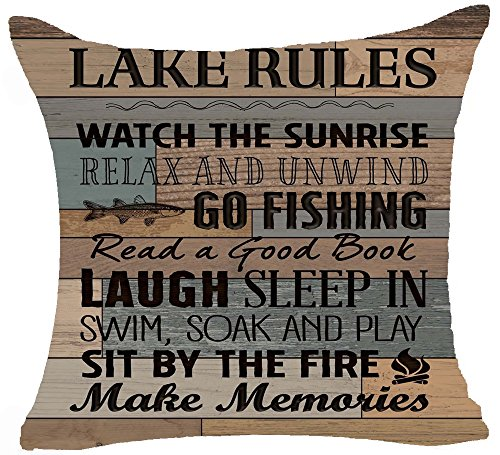 Retro Wood Grain Background Lake Rules Watch The Sunrise Relax Go Fishing Make Memories Cotton Linen Square Decorative Home Indoor Throw Pillow Case Cushion Cover 18
