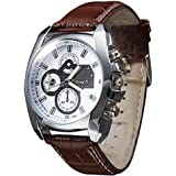 Soleasy New Men's Silver Case PU Leather Band Quartz Analog Wrist Watch WTH1009