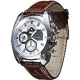 Soleasy New Men's Silver Case PU Leather Band Quartz Analog Wrist Watch WTH1009