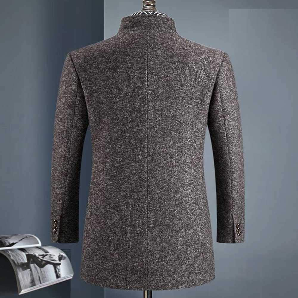 U/A Winter Wool Thicked Trench Coat Men,Men's Grey Casual Wool 60% Jackets Champagne