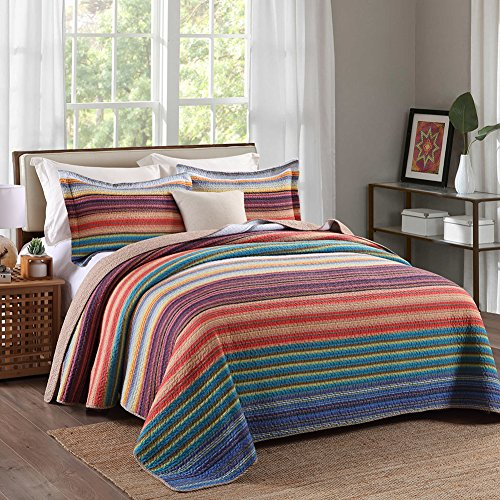 NEWLAKE Colorful Striped Bedspread Quilt Sets-Cotton Patchwo