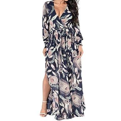 a34f79ec676 Angelof Robe Longue Femme Chic pour Fillette Hiver Robe Portefeuille V-Neck  à Manches Imprimé