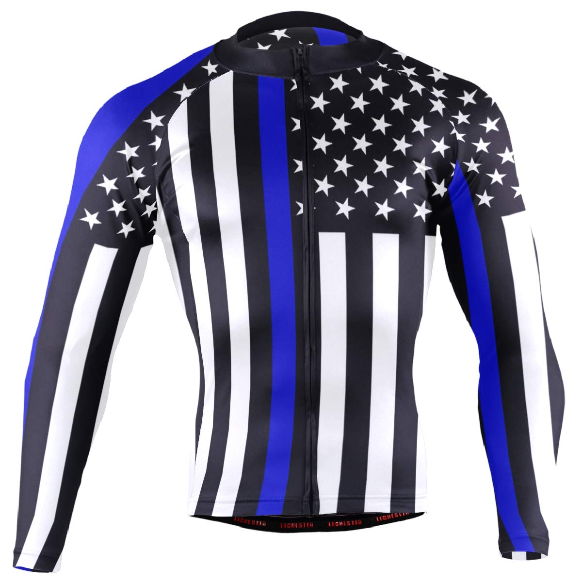 CHINEIN Men's Cycling Jersey Long Sleeve with 3 Rear Pockets Shirt Police Thin Blue Line American Flag by CHINEIN
