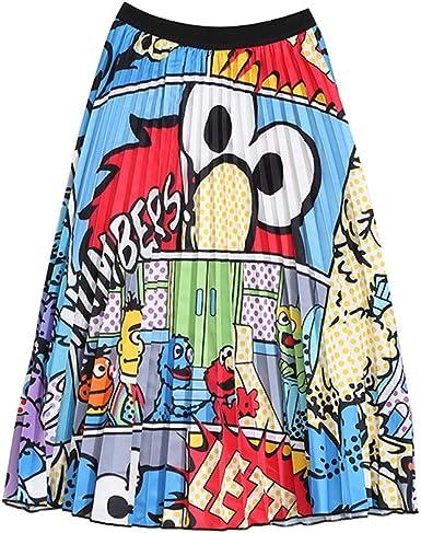 Faldas Plisadas de Graffiti para Mujer Falda Larga de Verano con ...