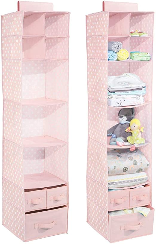 Light Gray with White Dots Polka Dot Pattern mDesign Soft Fabric Over Closet Rod Hanging Storage Organizer with 7 Shelves and 3 Removable Drawers for Child//Kids Room or Nursery