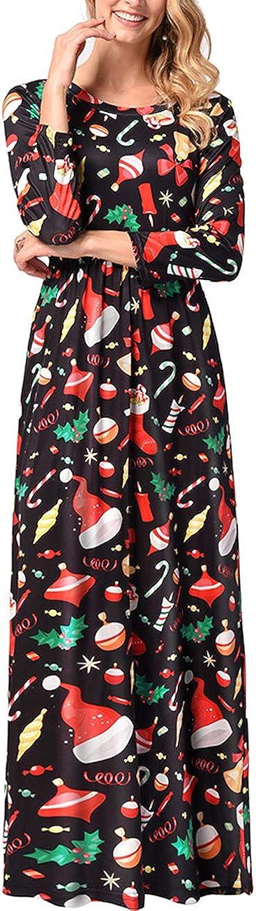 TALLA XXL=ES 48-50. FeelinGirl Mujeres Vestido Largo Estampado Floral de Fiesta Navidad Falda Maxi de Manga Larga Nochebuena Multicolor-04 XXL=ES 48-50