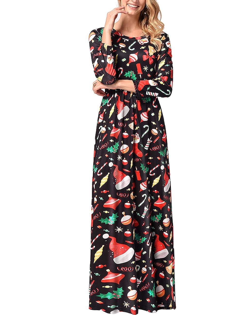 TALLA 3XL=ES 50-52. FeelinGirl Mujeres Vestido Largo Estampado Floral de Fiesta Navidad Falda Maxi de Manga Larga Nochebuena Multicolor-04 3XL=ES 50-52