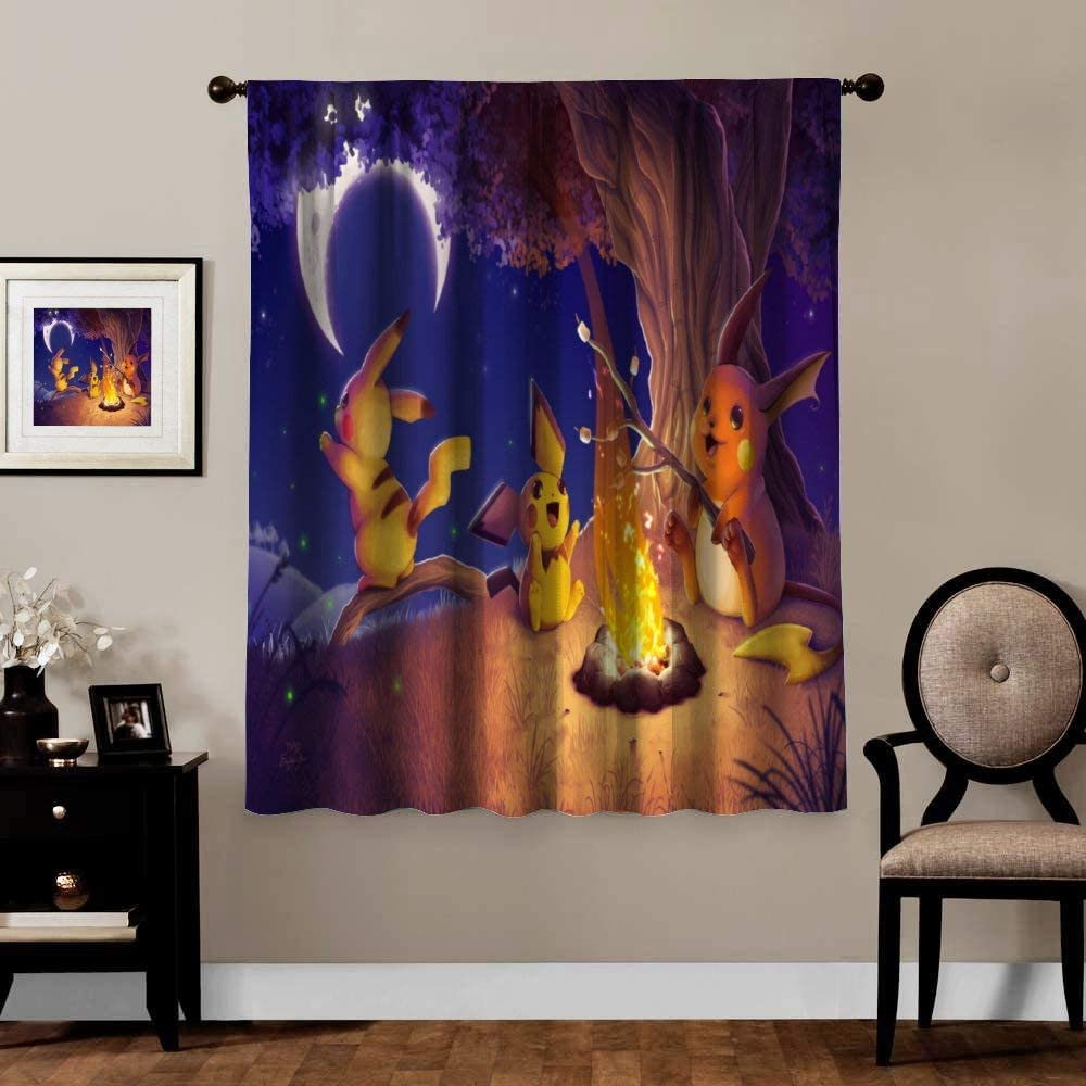Anime Blackout Curtains,Pichu Pikachu Raichu (2), Rod Pocket Thermal Insulated Darkening Window Drapes for Bedroom, Cute Animal Boys Girls Room Décor, 1 Panels,84x84 inch