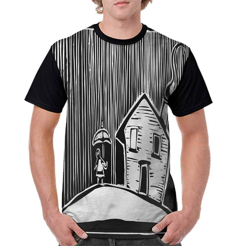 Classic T-Shirt,Kid with an Umbrella Fashion Personality Customization