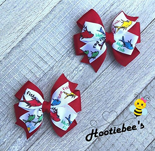 One Fish Two Fish Toddler Hair Bow Set (Red or Blue) for $<!--$6.50-->