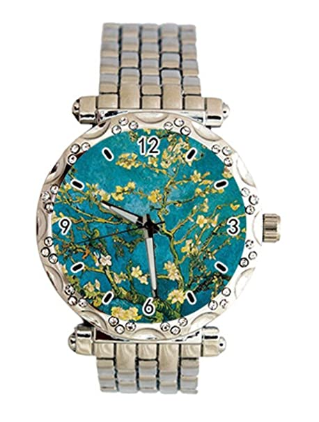 Almond Blossoms por mayor artista Van Gogh Custom Fashion Ladies Crystal reloj de pulsera de cuarzo