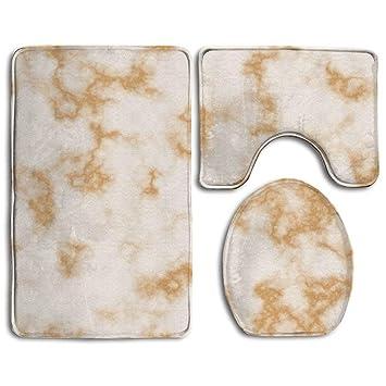 Badteppich, 3-teiliges Badezimmer Teppich Set weiß gold ...