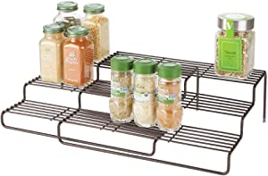 mDesign Adjustable, Expandable Kitchen Wire Metal Storage Cabinet, Cupboard, Food Pantry, Shelf Organizer Spice Bottle Rack Holder - 3 Level Storage - Up to 19.5