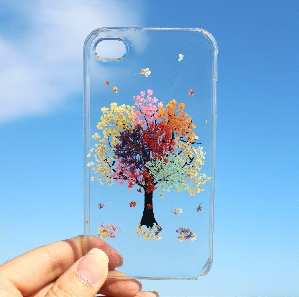 iPhone X Phone Case, Tree of Life - Rainbow Tree Blossom iPhone 7 & 8, 7 & 8 Plus, iPhone 6/6s, 5/5s, SE Floral Soft Clear Silicone Rubber Case Cover: Handmade Real Pressed Dried Flowers Phone Case by HouseOfBlings