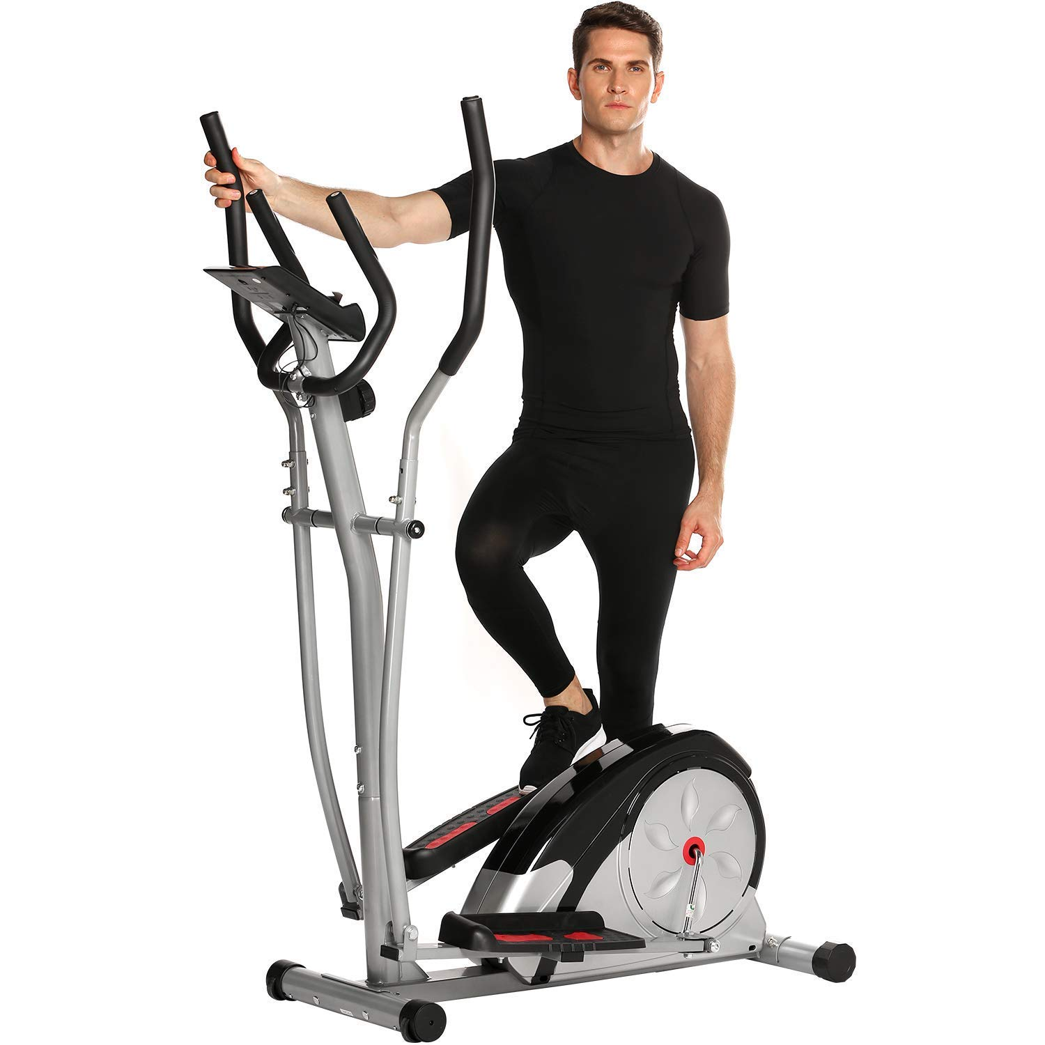 shaofu Magnetic Control Mute Elliptical Trainer with LCD Monitor & Pulse Rate Grips | Home Office Fitness Workout Machine (Silver)