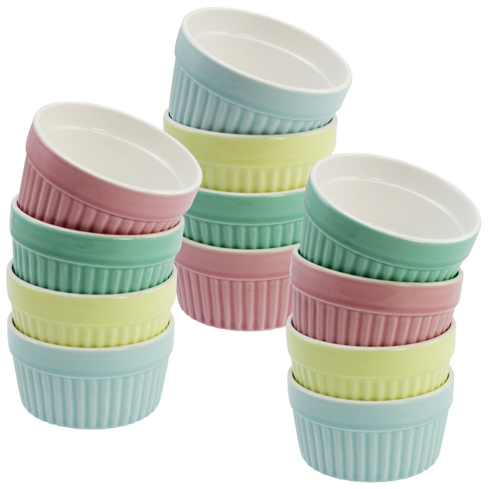 Com-Four® 4x ragout fin bowls | as pate moulds or for creme brulee | 200 ml | Available in various pastel colours (04 pieces - colorful)