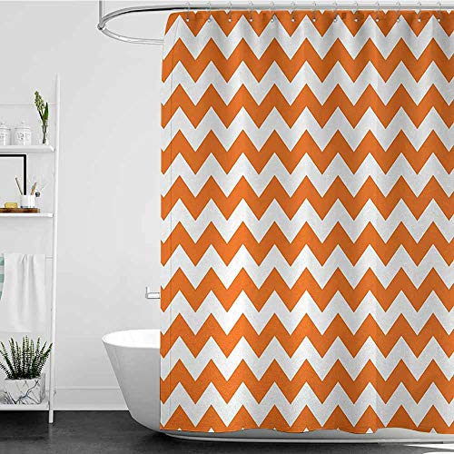 SKDSArts Shower Curtains Liner Chevron,Halloween Pumpkin Color Chevron Traditional Holidays Autumn Season Celebrate,Orange White,W65 x L72,Shower Curtain for Bathroom -