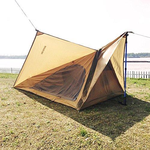 Tente de pique-nique en plein air camping sans tige portable étanche tente de soutien rapide marron