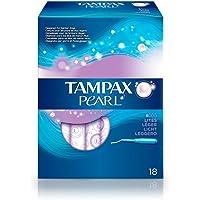 Tampax Pärla – tamponger med plastapplikator, x 18, lätt