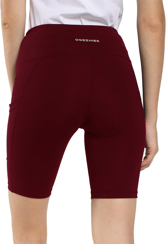 Ogeenier Women Workout Yoga Shorts High Waist Running Shorts with Hidden Pocket Non See Through 2 Pack
