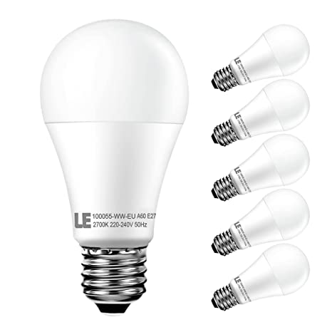 LE Bombillas LED esféricas 12W, casquillo E27, Blanco cálido 2700K, no regulable,