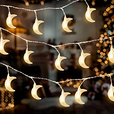 AceList 40 LED Moon String Lights for Home Decoration Outdoor Gardens Wedding Party Holiday Decor : Garden & Outdoor