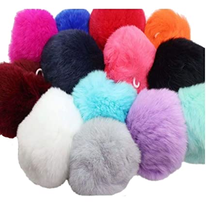 e6fd6f584f8f Amazon.com  20pcs DIY Genuine Rex Rabbit Fur Pompoms Ball for Phone ...