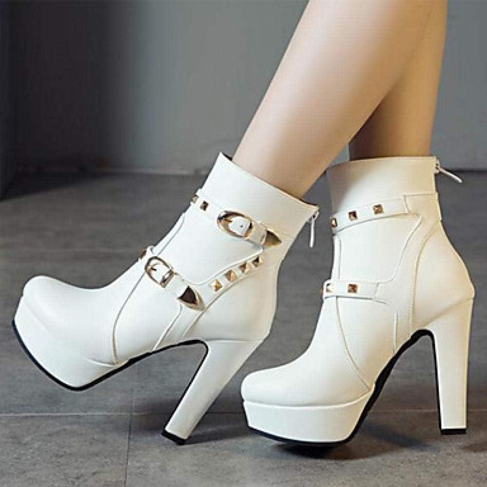 Dames laarzen Tacco Grossa kant, klinknagels/gesp PU laarzen/laarzen/laarzen/minimalisme Primavera en herfst/herfst en winter rood/wit/zwart blauw