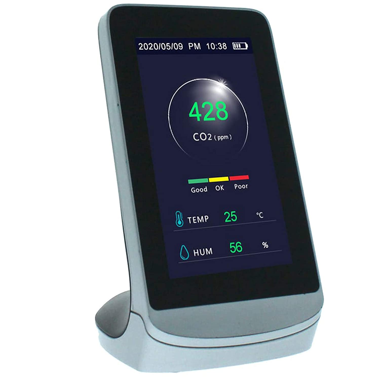 Monitor Detector Dioxido de Carbono CO2 - Pantalla LCD Digital Termómetro Higrómetro Analizador Calidad Aire - Estacion Meteorologica Inalambrica para Interior Exterior - Ideal Hogar Oficina.