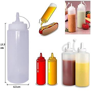 healthcom 6pk 8 oz dispensadores de alimentos plástico Squeeze botellas condimento botellas TWIST ON Cap tapa