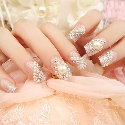 24 piezas de uñas postizas plateadas con cubierta completa para uñas, accesorios para arte de