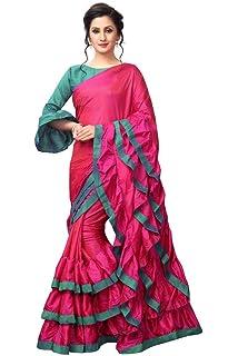 e61e3173538e53 AnK Women s New Pattern ruffle Silk Saree With Blouse (Pink Firozi)