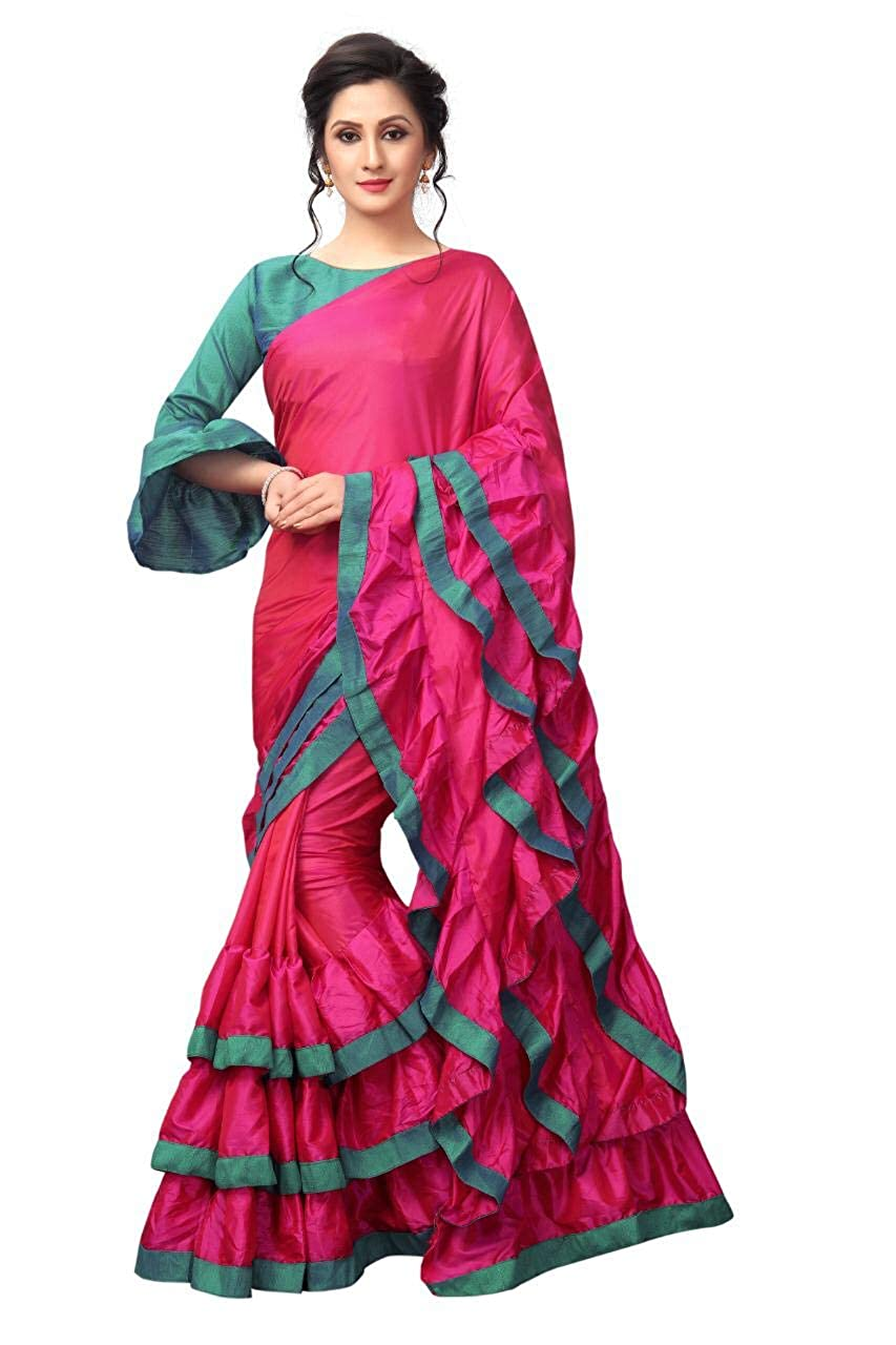 936c3f929e7ca6 AnK Women s New Pattern ruffle Silk Saree With Blouse (Pink Firozi)  Amazon. in  Clothing   Accessories