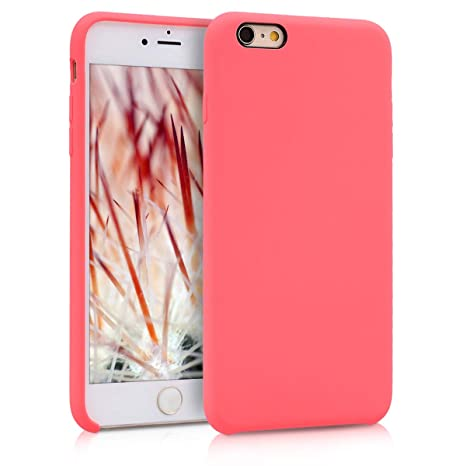 kwmobile Funda compatible con Apple iPhone 6 Plus / 6S Plus - Carcasa de TPU para móvil - Cover trasero en coral neón
