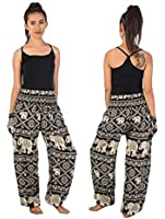 Flowy Comfy Harem Pants Baggy Trouser Yoga Loose Pants Elephant Black